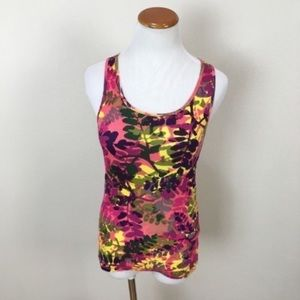 Lucky Brand Leaf Pattern Cotton Ribbed Tank Top